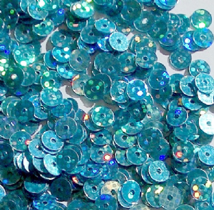 5mm Hologram Turquoise Flat Round Sequins x 15g